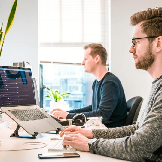 Two men working on laptop in office